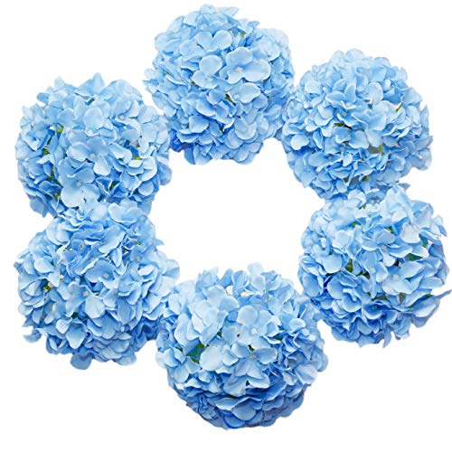 DuHouse Artificial Bigger Silk Hydrangea Flower Heads with Stem Fake Blue Hydrangea Flowers for Wedding Home Garden Centerpiece Pack of 6