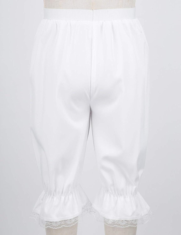 iixpin M/ädchen Bloomers Hose viktorianische R/üschen K/ürbis Pumphose Renaissance Zigeuner Hosen Shorts Cosplay Fasching Kost/üm Wei/ß