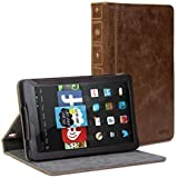 GMYLE Fire HD 7 Case, Book Case Vintage for Fire HD 7 (2014 model) (4th Generation) - Brown PU Leather Protective Book style Flip Folio Slim Fit Stand Case Cover