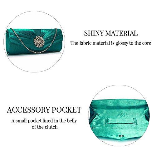TrendStar - Cartera de mano de satén para mujer Small Turquoise Flower Clutch