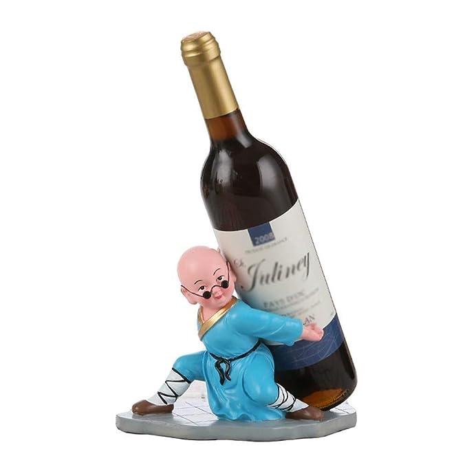 RACKJN Titular de la Botella de Vino pequeño Monje de pie ...