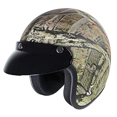 Mossy Oak MO-1000 Camouflage Motorcycle Open Face Helmet with Visor ()