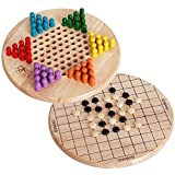 2 in 1 Chinese Checkers Game with Traditional Pegs Board Cultivate Thinking Ability diametre 9.06inch Game for Adults, Boys and Girls