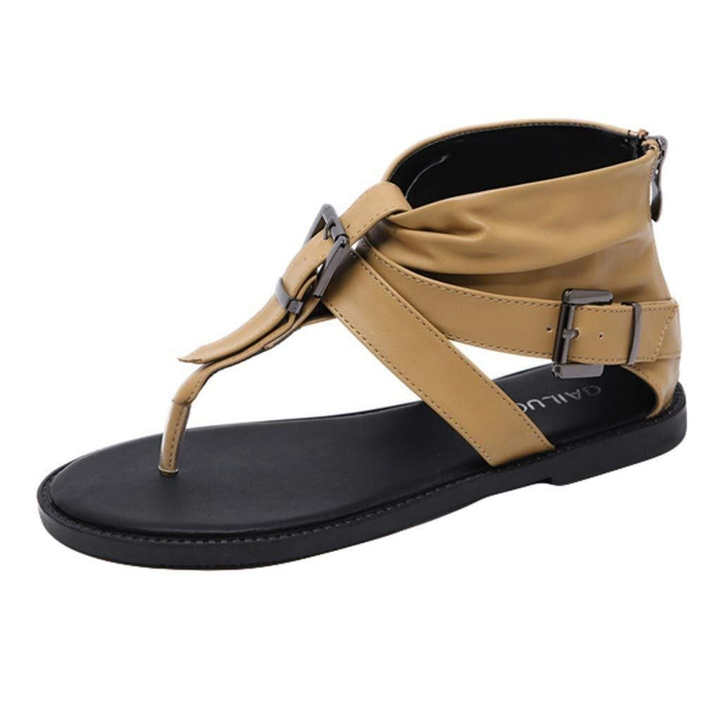 Hermia Women's Roman Shoes Open Toe Knickers Flat Sandals Buckle Zipper T-Type Summer Cool Thong Shoes (Color : Brown, Size : 5 M US) by Hermia