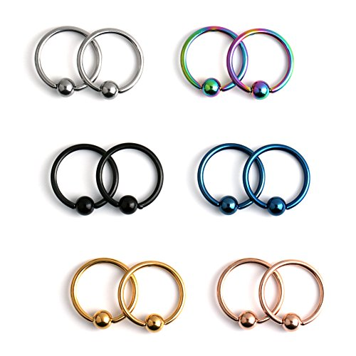 Ruifan 12PCS 316L Surgical Steel Captive Bead Rings Nose Belly Eyebrow Tragus Lip Ear Nipple Hoop Ring BCR 14G 10MM (Captive Mm Ring 10)