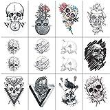 SanerLian Skull Tattoo Sticker Temporary Fake Tatoo Hand Arm Shoulder Chest Back Adult Men Women 10.5X6cm Set of 12