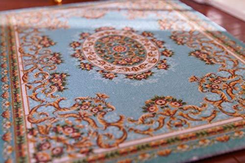 1:12 French Aubusson Light Blue Floral Dollhouse Miniature 1/12 ()