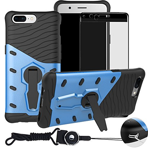 Price comparison product image OnePlus 5 1+5 A5000 Case , BestAlice Hybrid Shockproof Defender 360 Rotating Stand Armor Case Cover & TempeRose Gold Glass Film & Neck Lanyard , Blue
