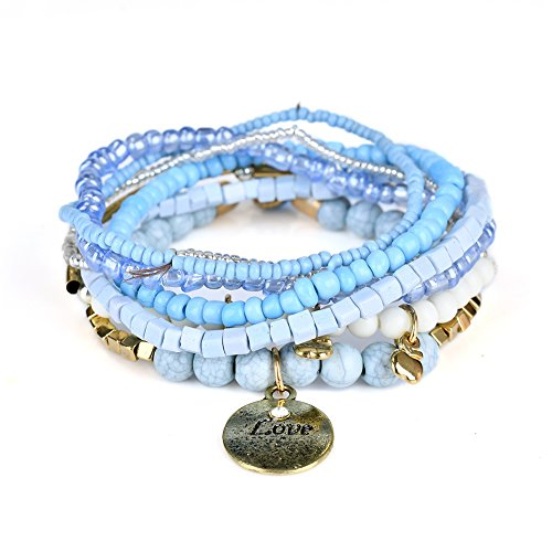 Lureme Bohemian Beads Coin Love Charms Multi Strand Textured Stackable Bracelet Set-Lt ()