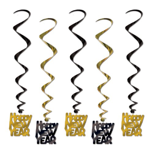 Beistle 80772-BKGD Black and Gold Happy New Year Whirls, 33-Inch, 5 Per Package