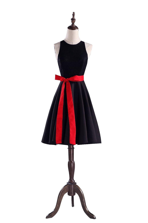 Irenwedding Women's Jewel Lace Back Belt A Line Knee Length Homecoming Evening Dress