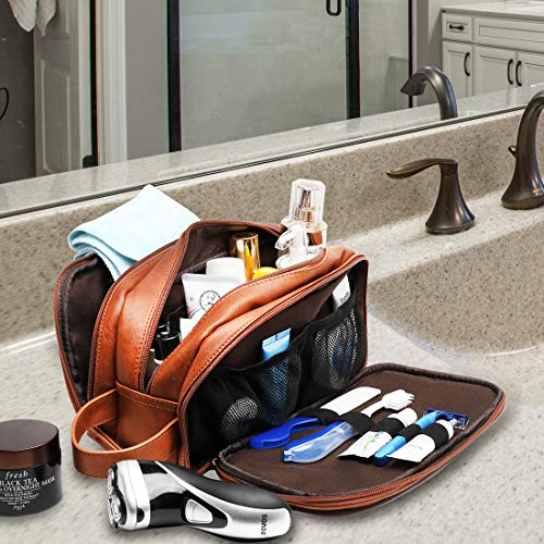 Leather Toiletry Bag for Men,Large Capacity Waterproof Travel Dopp Kit with Sturdy Handle,Travel Organizer for Toiletries -Perfect Gift for Men
