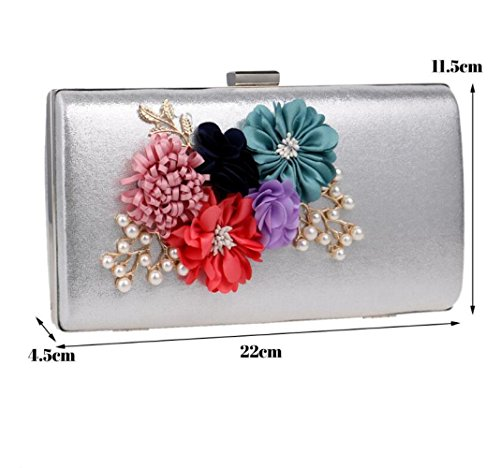 Bag Clutch Flowers Dinner Luxury Women's Shoulder Silver Bag Dress Exquisite Evening FZHLY Cross Bridal Bag Bag Wallet IS0Fq