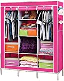 Aventure 4q.q Feet Portable Non Woven Fabric Metal Frame Wardrobe Cabinet, Easy Installation Folding Cupboard Almirah Foldable Storage Rack Collapsible Cloths Organizer With Shelves Washable Cover