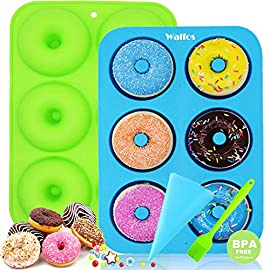 WALFOS 2 Pack Food Grade Silicone Donut Molds,Flexible Donut Baking Pans for Perfect Shaped Doughnuts-Cake Biscuit Bagels - Easy to Pop Out - BPA Free Dishwasher, Oven, Microwave, Freezer Safe 2 - JUST POPS OUT! NON-STICK,FLEXIBLA Silicone ! Easy to Use - Just Spray with little Oil before using and Release Donuts Easily.WALFOS donut pans is microwave & freezer safe and heat resistant to 450°F, they are made to last a lifetime. No more metal rusting! - SAFETY ,WITHOUT Chenmical Coating.Unlike aluminum pan, WALFOS brand silicone donut pans don't need coating to keep NON-STICK, more healthy.WALFOS Brand Silicone donut molds are made of high quality 100% food grade silicone, FDA approved and BPA free. - SUPERIOR VALUE PREMIUM SET ,Included 2 dount molds, a pastry bag and a pastry brush, idea for family projects, spending some more time with your family and friends together to enjoy these homemade donuts activities that foster sharing, relaxing and fun. You can make Regular Donuts, Chocolate Cake Donuts, Gingerbread Donuts! Great for the whole family.