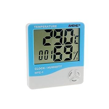 HTC-1 Interior LCD Electrónica Digital Temperatura Humedad Medidor de la Habitación Termómetro Higrómetro Reloj Despertador Estación Meteorológica: ...