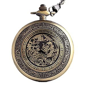 Classic Mens Smooth Vintage Steel Mens pocket watch with Gift Chain for Xmas Fathers Day Gift