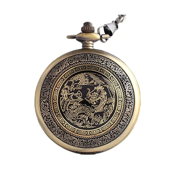 Classic Mens Smooth Vintage Steel Mens pocket watch with Gift Chain for Xmas Fathers Day Gift 3