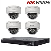 Hikvision Video Surveillance System DS-7604NI-E1/4P Embedded Plug & Play NVR 4CH 4POE + DS-2CD2142FWD-I 4MP Dome IP Camera Security Camera CCTV Camera+ Seagate 2TB HDD (4 Channel + 4 Camera)