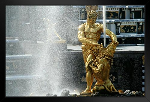 Samson and The Lion Fountain Peterhof Palace St Petersburg Russia Photo Art Print Framed Poster 14x20 inch ()