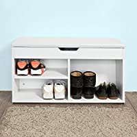 Haotian White Shoe Cabinet, Shoe Rack, Shoe Storage Bench with Folding Padded Seat, FSR27-W