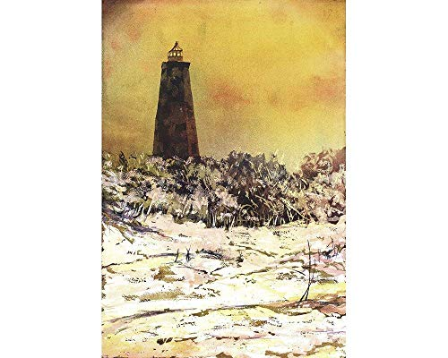 - Poured watercolor painting of Old Baldy Lighthouse on Bald Head Island- North Carolina (print)