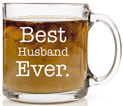 Best Husband Ever Coffee Mug | Husband Gifts from Wife for Birthday, Wedding Anniversary | 13 oz Glass Mug | Best Fiance Engagement Gift for Him Funny Mugs for Men | Fathers Day Present for Dad