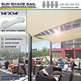 Windscreen4less 14' x 14' Sun Shade Sail Square Canopy in Beige with Commercial Grade (3 Year Warranty) Customized Size Included Free 4 Pad Eyes