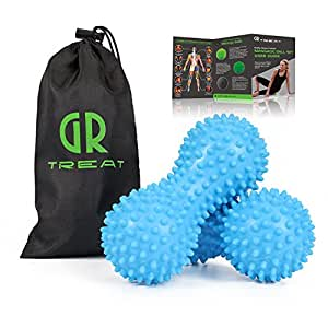 GR Foot Massage Ball Roller (Set of 2) - Peanut Spiky Massage Ball - Reflexology Muscle Trigger Point Therapy - Perfect for Plantar Fasciitis, Deep Tissue and Muscle Relief (Blue-Softer)