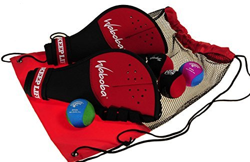 Waboba Catch Glove w/ Pro Ball _ Frustration Free Packaging _ Bundle of 2 Sets _Bonus 2 Wave Skipper Balls _ Bonus Red/Black Drawstring Backpack _ Bundled Items by Deluxe Games and Puzzles (Image #1)