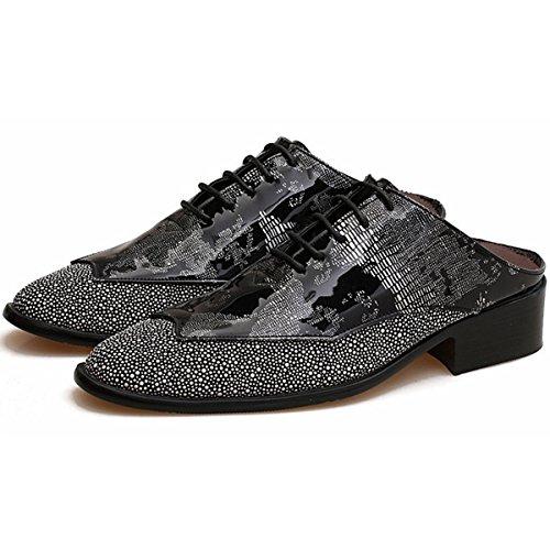 Pinuo Mens Demi-pantoufles Sandales Respirant Discothèque Hairstylist Pantoufles De Marée Oxfords Chaussures En Cuir Noir