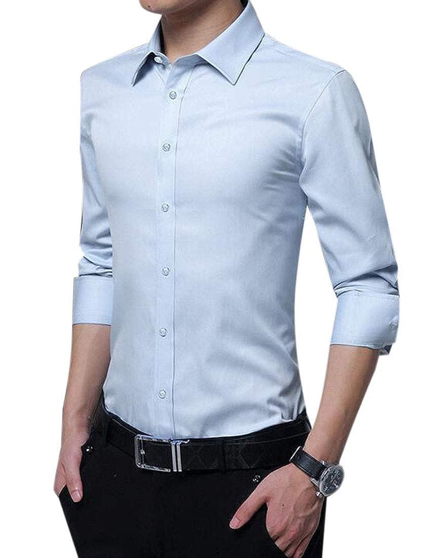KLJR Men Business Solid Non-Iron Slim Long Sleeve Casual Dress Shirt