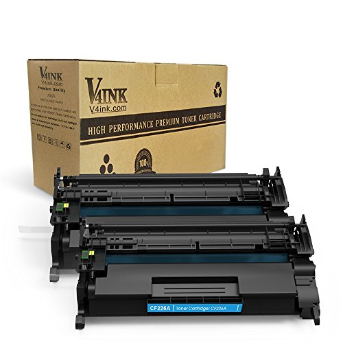 V4INK 2 Pack Replacement for CF226A 26A 3100 Pages New Compatible Toner Cartridge for LaserJet Pro M402n, M402dn, M402dw, MFP M426fdw, MFP M426fdn series - 3100 Laser Printer