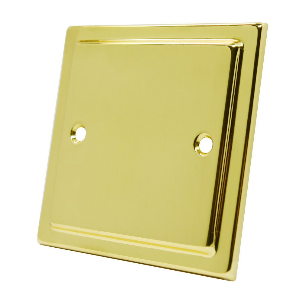 Victorian Polished Brass Single Blank Plate - Electrical Blanking Plate 1-Gang BS