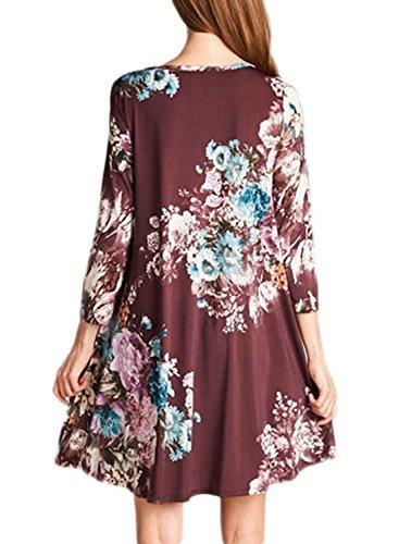 Alvaq Femmes 3 4 Manches Genou Floral Une Ligne Longueur Robe T-shirt Décontracté Violet