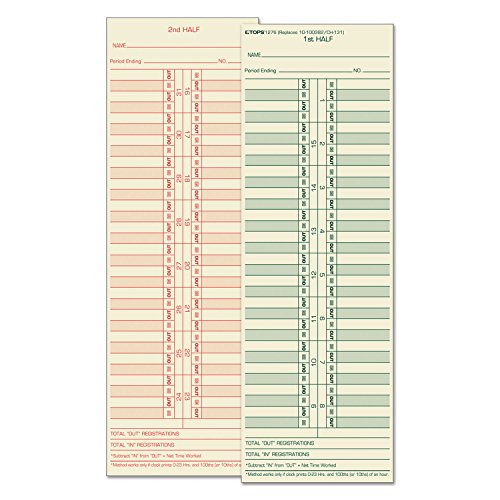 TOP1276 - Time Card for Cincinnati/Lathem/Simplex/Acroprint by Tops