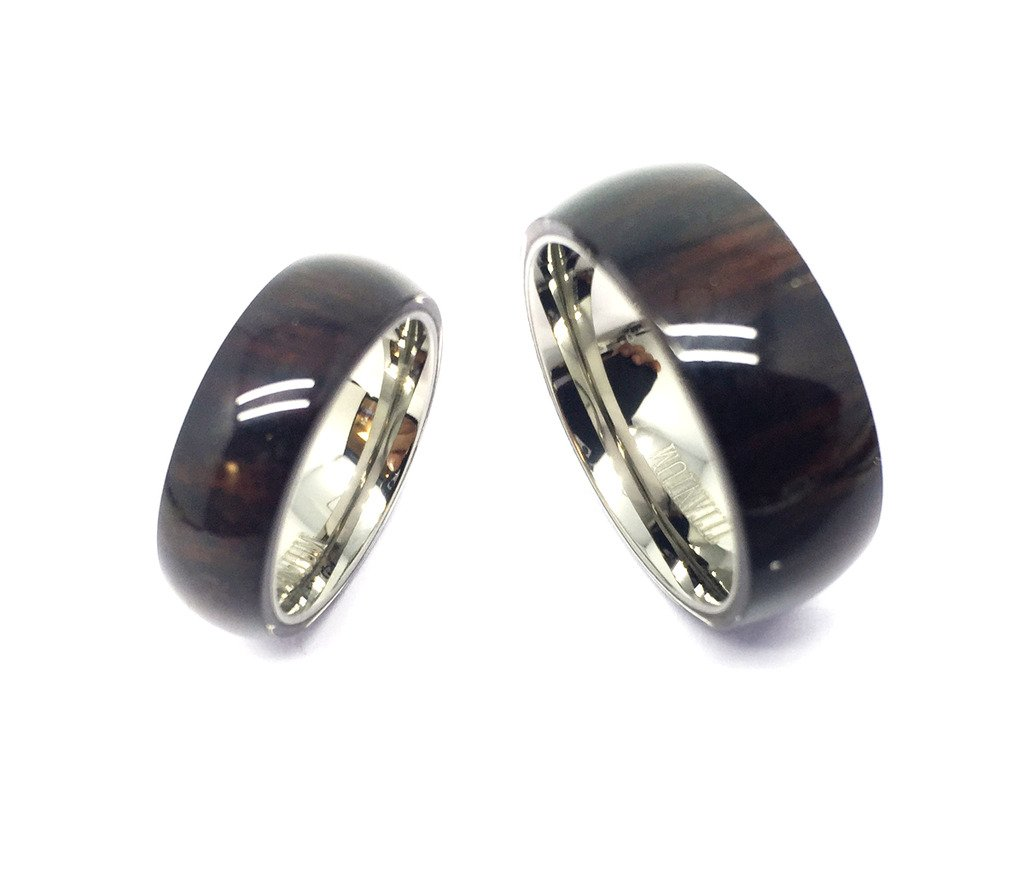 His & Her's 8MM/6MM Titanium With Pure Hawaiian Dark Koa Wood Domed Top Wedding Band Ring Set by GiftsWithThought (Image #1)