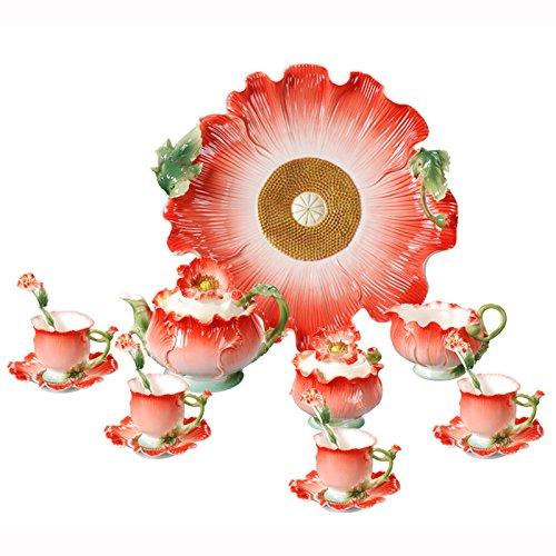 Choholete Porcelain Ceramic Elegant Red Iceland Poppy Coffee Mug Set Tea Set 16-Piece