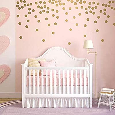 BATTOO Peel and Stick Gold Wall Decal Confetti Polka Dots - 1 inch 100 pcs - Safe for Walls & Paint - Metallic Gold Vinyl Round Circle Art Wall Stickers Large Sheet Baby Nursery Room Set: Kitchen & Dining