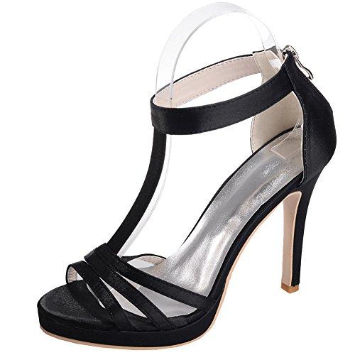 Loslandifen Donna Open Toe T-straps Pumps Raso Tacchi A Spillo Scarpe Da Sposa Nero