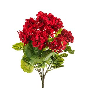 "THREE 18"" Artificial Geranium Flower Bushes in Red for Home, Garden Decoration 3"