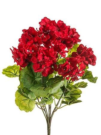 Elegant THREE 18u0026quot; Artificial Geranium Flower Bushes In Red For Home, Garden  Decoration