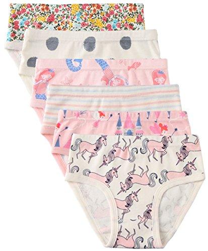 6 Pack Little Girl Underwear Cotton Fit Age 1-7, Baby Girls Panties Toddler Girl's Undies (Unicorn, 1-3 Years/Waist 15.6