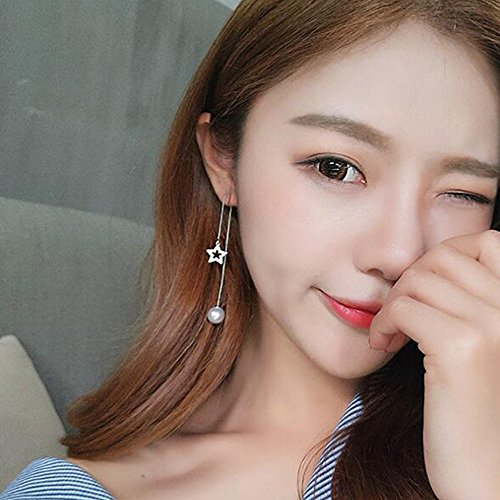 - A&C Fashion Korean Version Chic Rhinestone Star and Bead Ear Line for Women. Unique Handmade Earrings Jewelry for Girl. (Silver Color)