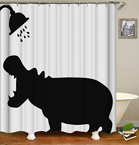Thick Polyester Fabric Shower Curtain Set, Creative Design Funny Hippo Shadow Silhouette Shower Curtain , Mildew Resistant Waterproof Machine Washable , 72 X 72 inch, White Black (Polyester Thick)