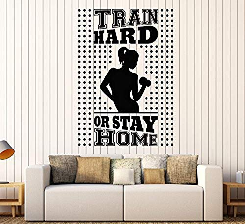 FirstDecals Vinyl Wall Decal Train Hard Stay Home Gym Fitness Trainer Beautiful Body Stickers Large Decor (748LK)