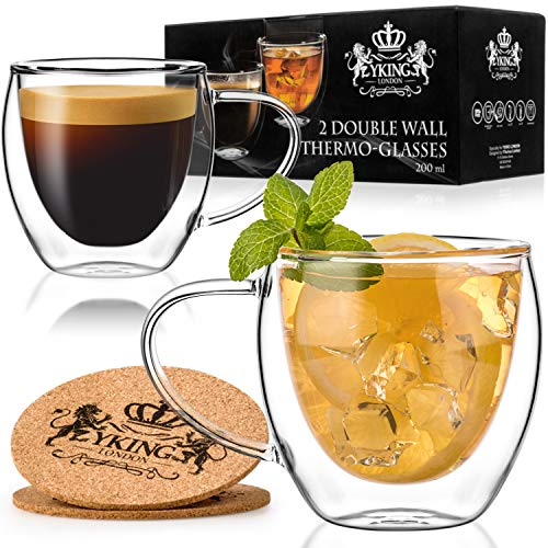 Double Walled Glasses Set of 2 Cups 7 oz- Glass Coffee Cups- Coffee Glass Cups 200ml- Double Wall Tea Mugs- Glass Mugs with Handle- Double Insulated Coffee Mug- Double Wall Coffee Glass Cups- Tea Cups