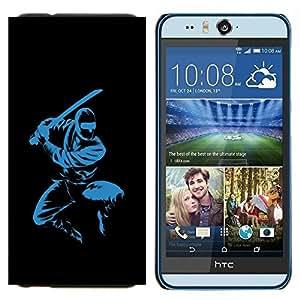 KLONGSHOP // Cubierta de piel con cierre a presión Shell trasero duro de goma Protección Caso - Azul Ninja - HTC Desire Eye M910x //