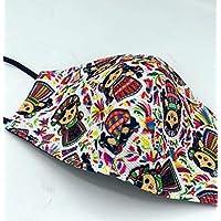 Cubrebocas mexicano impreso hecho a mano en Oaxaca, doble capa con detalle artesanal Modelo: Lele Muñeca de trapo