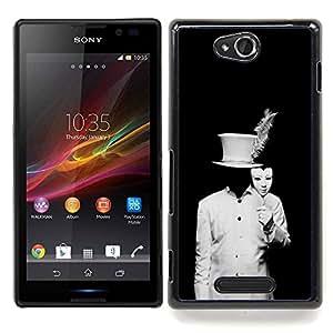 Stuss Case / Funda Carcasa protectora - Negro Hombre Blanco Disfraz Embrujado - Sony Xperia C C2305 S39h